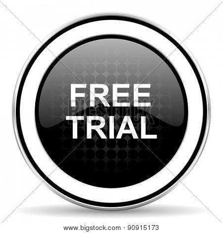 free trial icon, black chrome button