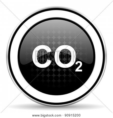 carbon dioxide icon, black chrome button, co2 sign