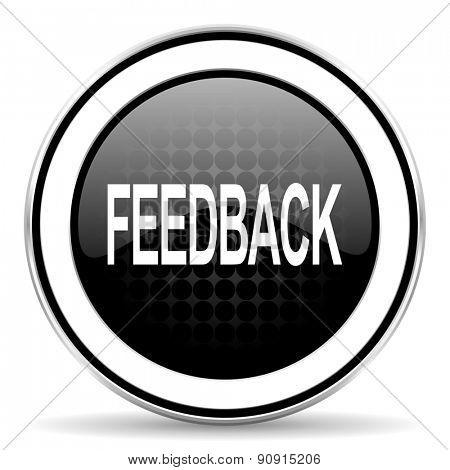 feedback icon, black chrome button