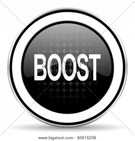 boost icon, black chrome button