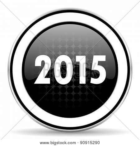 new year 2015 icon, black chrome button, new years symbol
