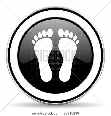 foot icon, black chrome button
