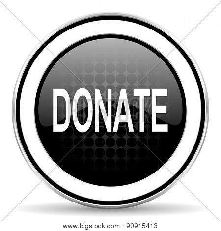 donate icon, black chrome button