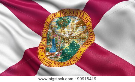 US state flag of Florida with great detail waving in the wind.