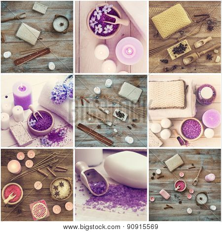 Photo collage of bath accessories on wooden background