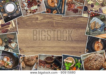 Frame photos of a retro food photos on a wooden table