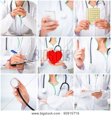 photo collage of a woman doctor in a white lab coat with medical stuff