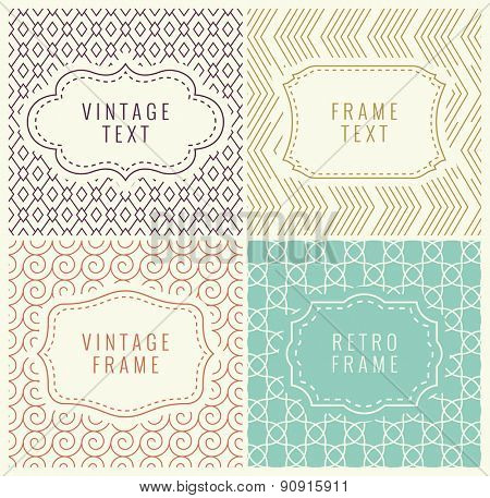 Retro Mono Line Frames with place for Text. Vector Design Template, Labels, Badges on Seamless Geome