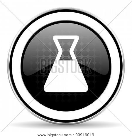 laboratory icon, black chrome button