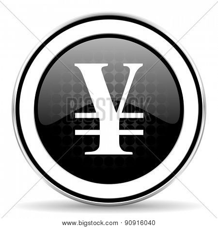 yen icon, black chrome button