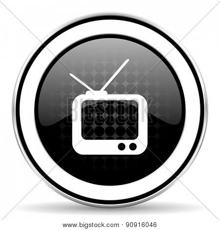 tv icon, black chrome button, television sign