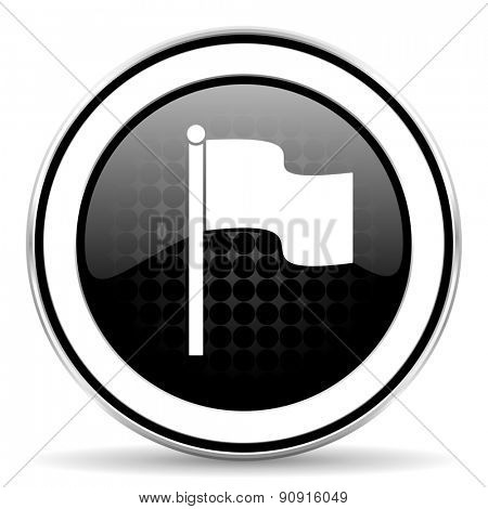 flag icon, black chrome button