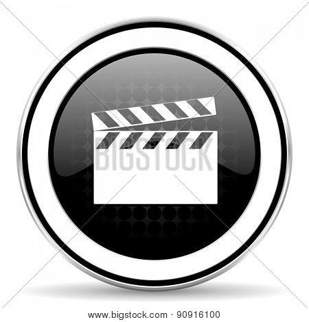 video icon, black chrome button, cinema sign