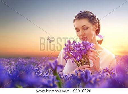 beautiful girl with wildflowers