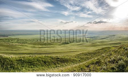 Spring Landscape With Caucasus Green Mountains