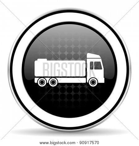 truck icon, black chrome button, cargo sign