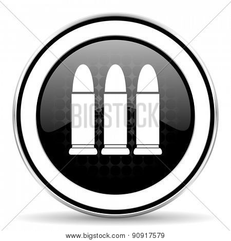 ammunition icon, black chrome button, weapoon sign