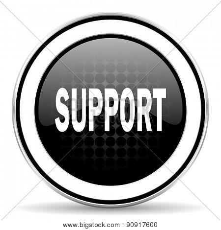 support icon, black chrome button