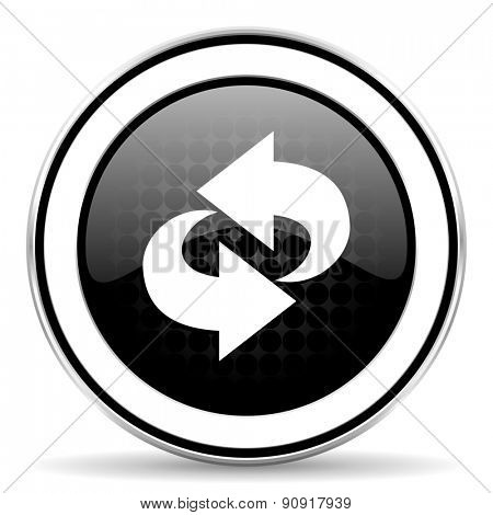 rotation icon, black chrome button, refresh sign