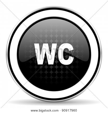 toilet icon, black chrome button, wc sign
