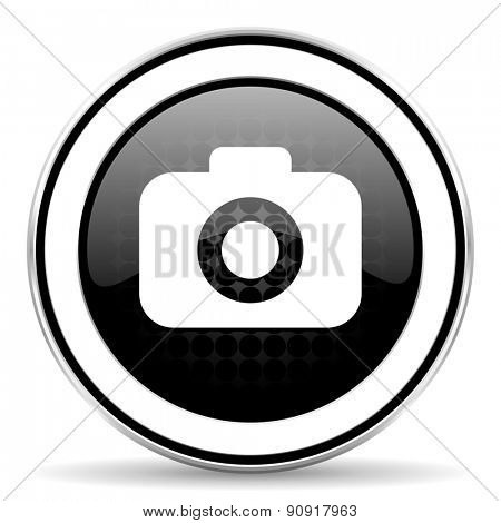 photo camera icon, black chrome button, photography sign