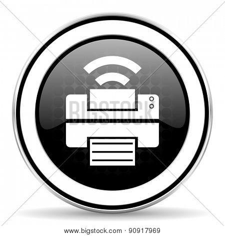 printer icon, black chrome button, wireless print sign
