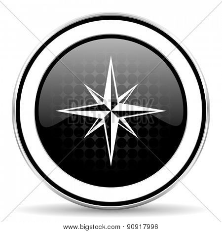 compass icon, black chrome button