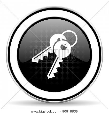 keys icon, black chrome button