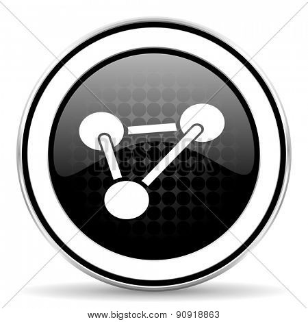 chemistry icon, black chrome button, molecule sign