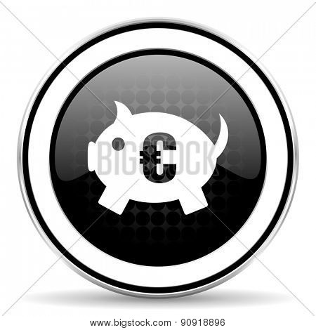 piggy bank icon, black chrome button