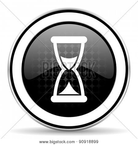time icon, black chrome button, hourglass sign