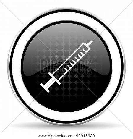 medicine icon, black chrome button, syringe sign