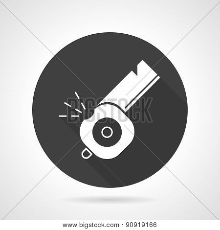 Whistle black round vector icon