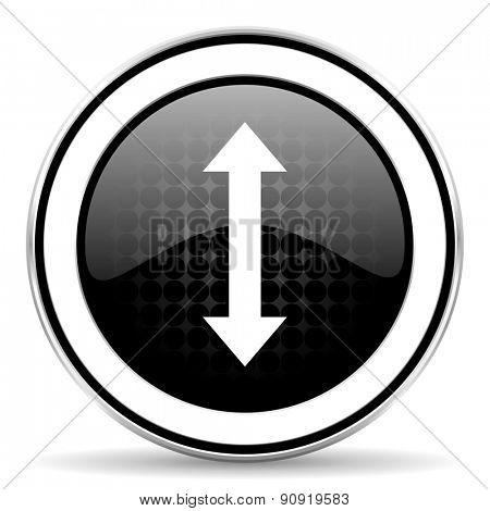 arrow icon, black chrome button