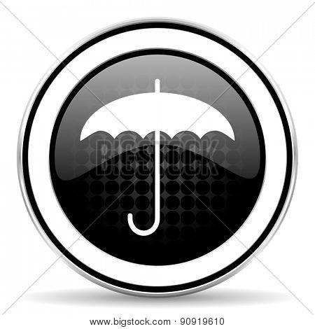 umbrella icon, black chrome button, protection sign