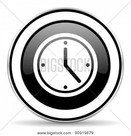 time icon, black chrome button, watch sign