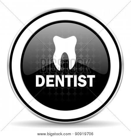 dentist icon, black chrome button