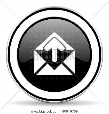 email icon, black chrome button, post message sign