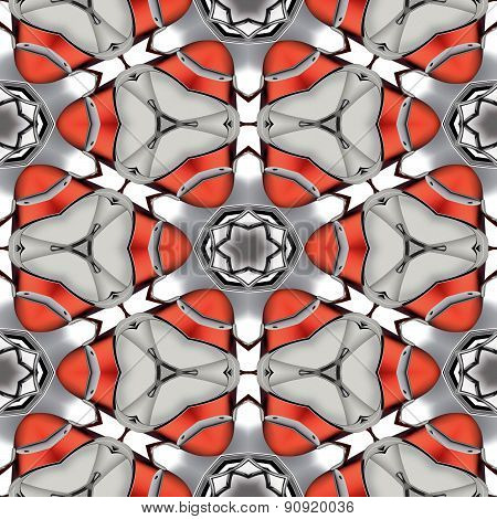 Abstract Metallic Red Chrome Geometric Texture Or Background Made Seamless