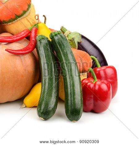 collection fresh vegetables isolated on white
