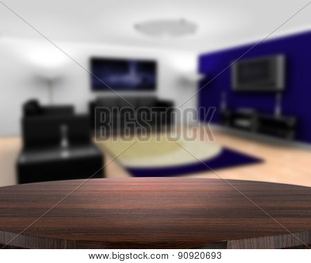3D render of a wooden table with a defocussed contemporary lounge in the background
