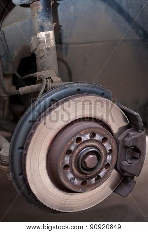 The Disc Brake Of A Car Made Visible By Taking Of The Wheel