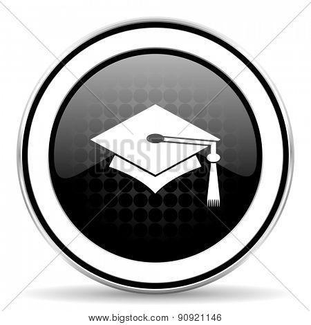 education icon, black chrome button, graduation sign