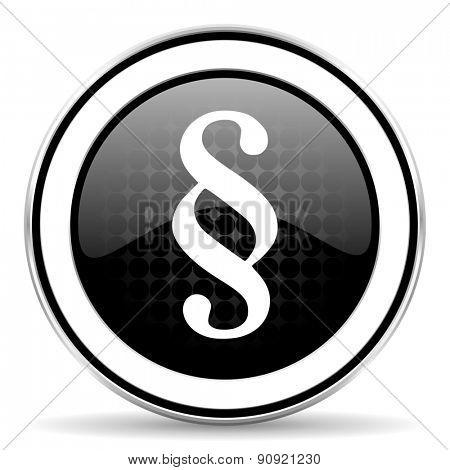 paragraph icon, black chrome button, law sign