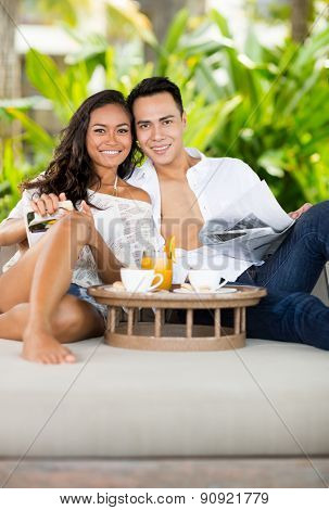 Portrait of couple in love on  vacation at luxury resort