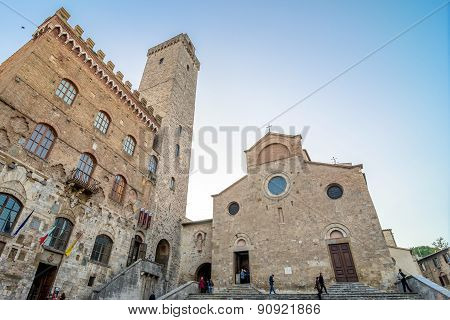 Street View With Skyline In San Gimignano, Italy