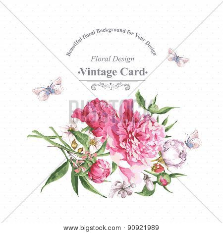 Vintage Watercolor Greeting Card with Blooming Flowers and Butterflies