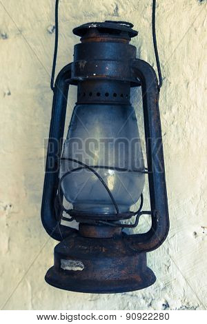 Old Rusty Kerosene Lamp