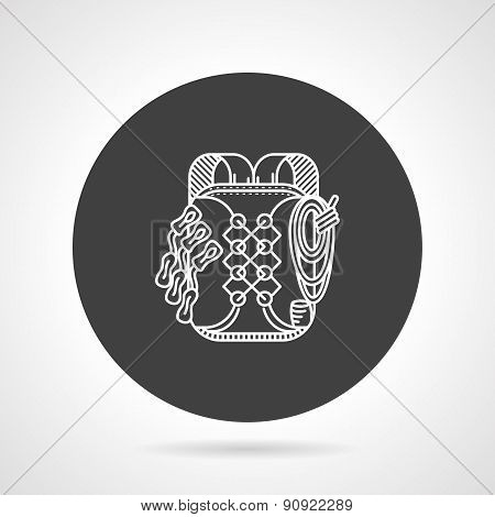 Hike backpack black round vector icon