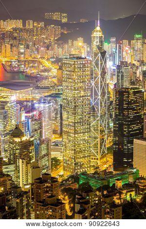 Aerial Hong Kong Skyline from Victoria Peak at night